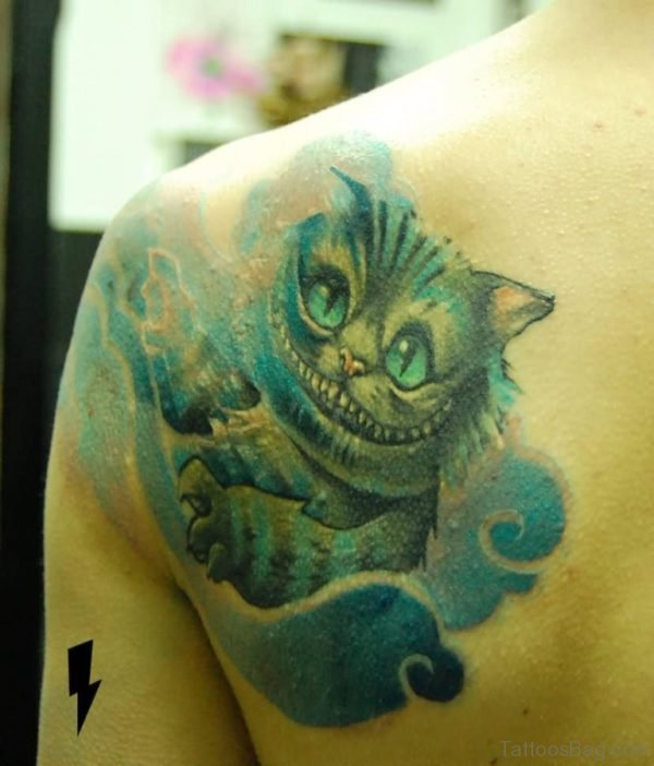 Cat Tattoo On Left Back