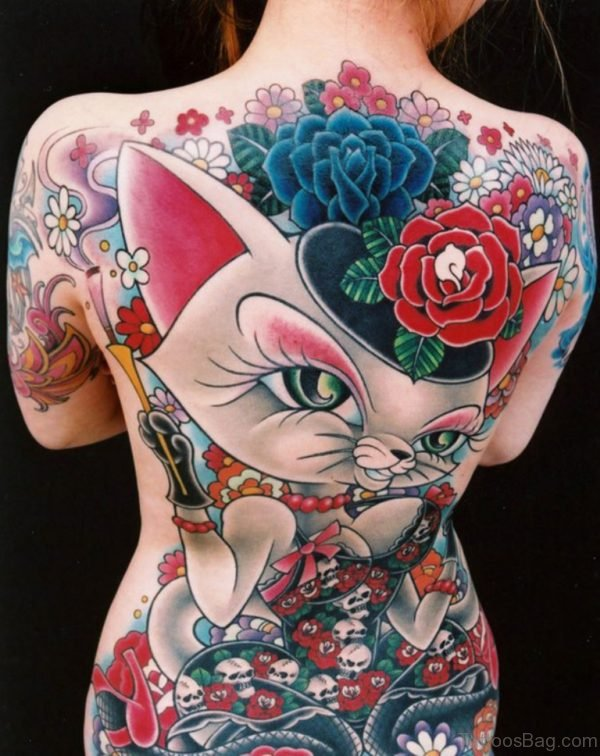 Cat With Flowers Tattoo On Back