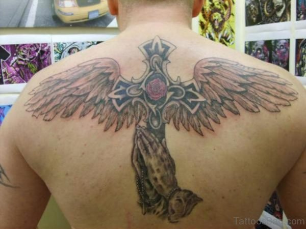Celtic Cross And Wings Tattoo