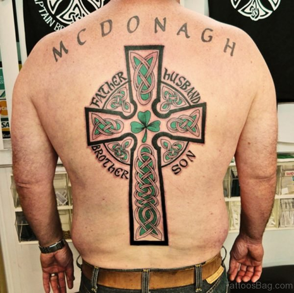 Celtic Cross Tattoo On Back For Men