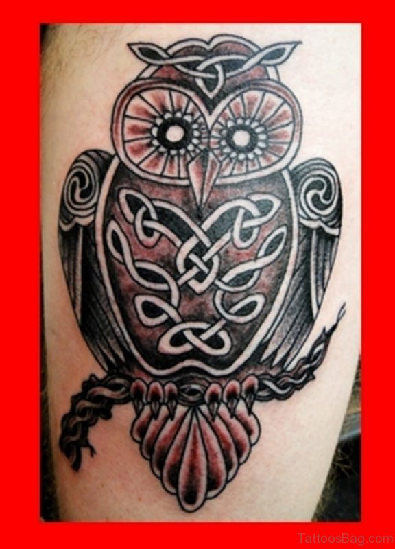 Celtic Owl Tattoo On Thigh