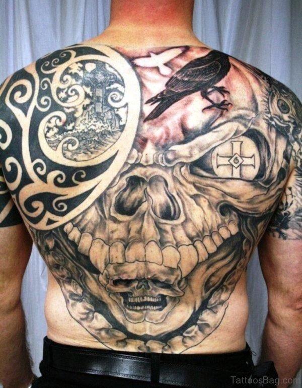 Celtic Skull Tattoo On Full Back