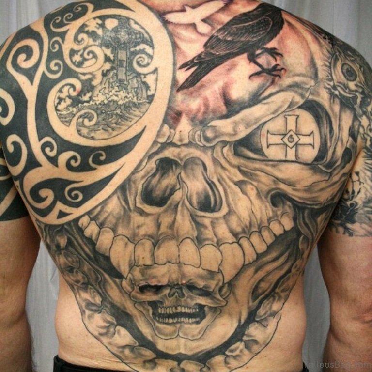 80 cool skull tattoos for back for Celtic skull tattoo