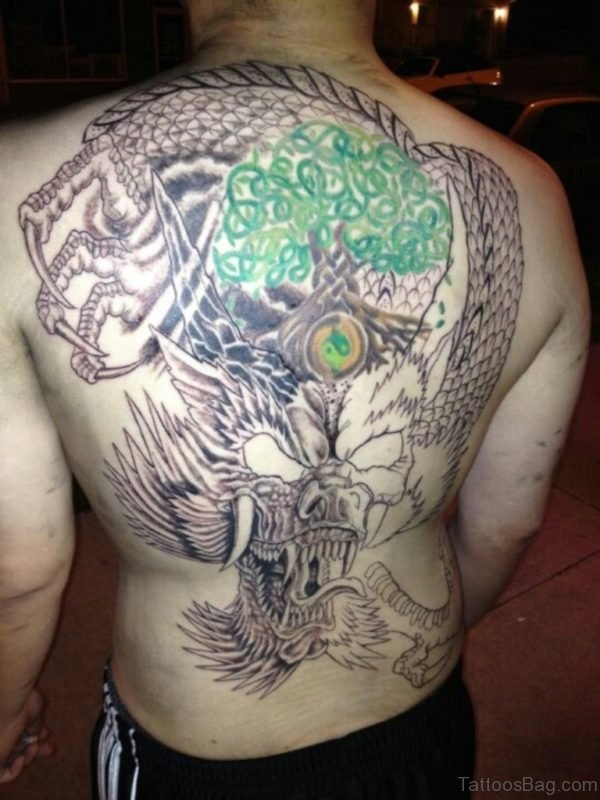 Celtic Tree And Dragon Tattoo