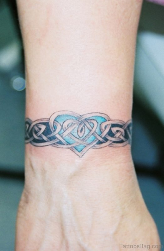 Celtic Wrist Band With Heart Tattoo