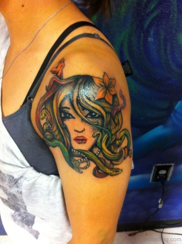 Charming Medusa Tattoo On Shoulder