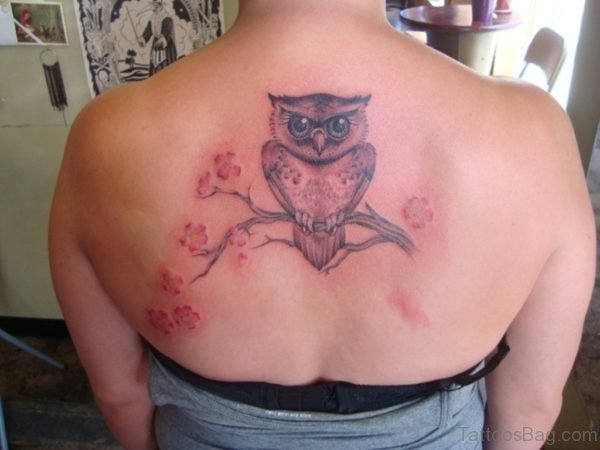 Cherry Blossom And Owl Tattoo