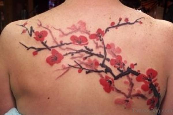 Cherry Blossom Tattoo On Back