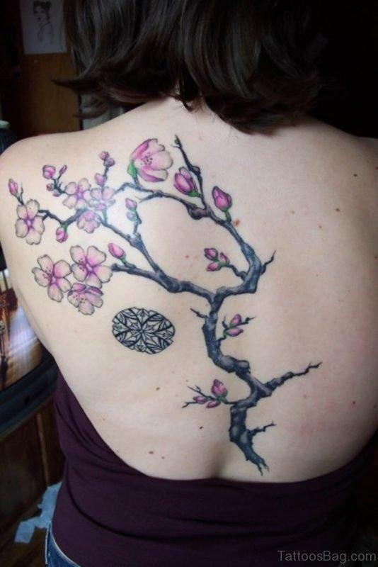 Cherry Blossom Tattoo On Girls Back