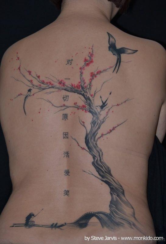 Cherry Blossom Tree And Bird Tattoo