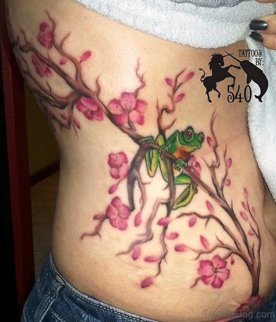 Cherry Blossom Tree And Frog Tattoo Design