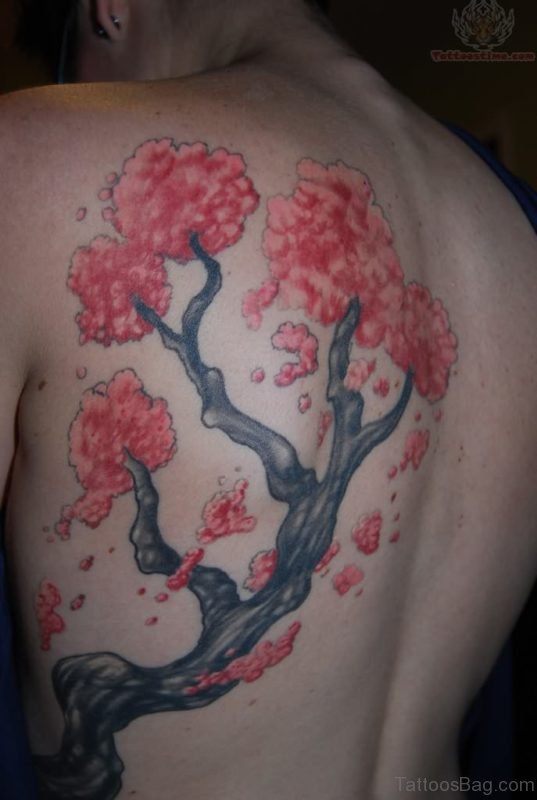 Beautiful Cherry Blossom Tree Tattoo Design On Back