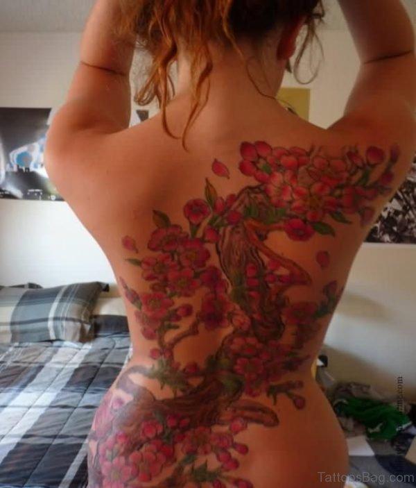 Cherry Blossom Tree Tattoo On Girls Back