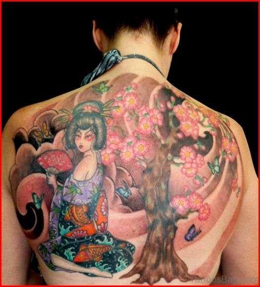 Cherry Blossom Tree Tattoo On Half Back