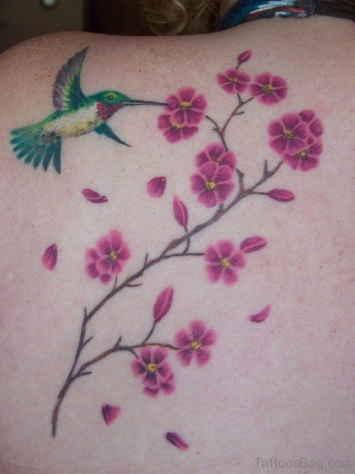 Cherry Blossoms And Hummingbird Tattoo