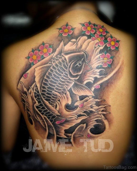 Cherry Blossoms And Koi Fish Tattoo