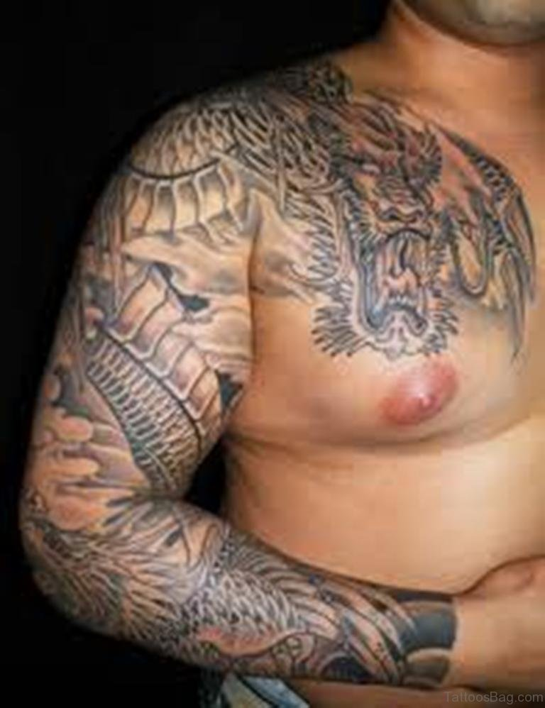 chinese dragon tattoo chest - photo #11