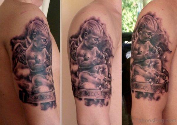 Child Angel Shoulder Tattoo