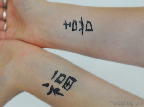 Chinese Symbols Tattoo Design On Wrist
