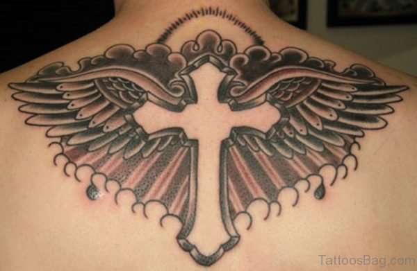Christian Cross And Wings Tattoo