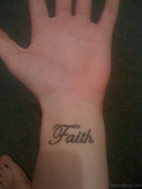 Classic Faith Tattoo On Wrist