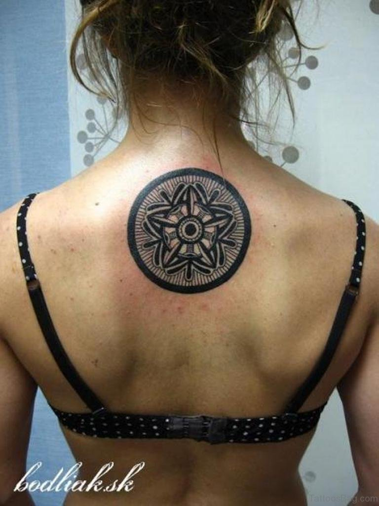 75 excellent geometric tattoos on back for Tattoos on back