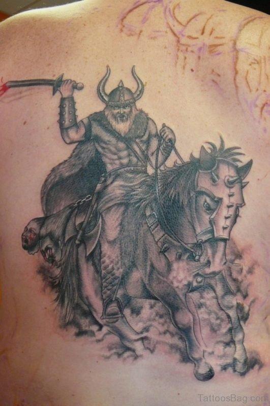 Classic Warrior Tattoo On Back