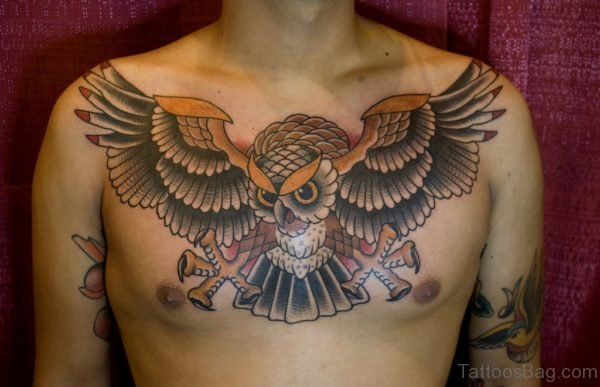 Classy Owl Tattoo On Chest