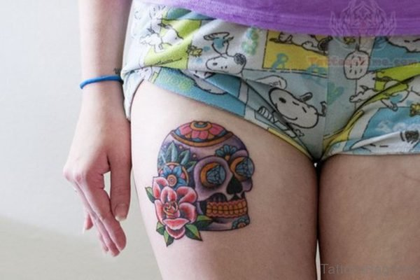 Classy Skull And Rose Tattoo