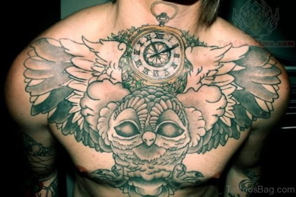 Clock And Owl Tattoo On Chest