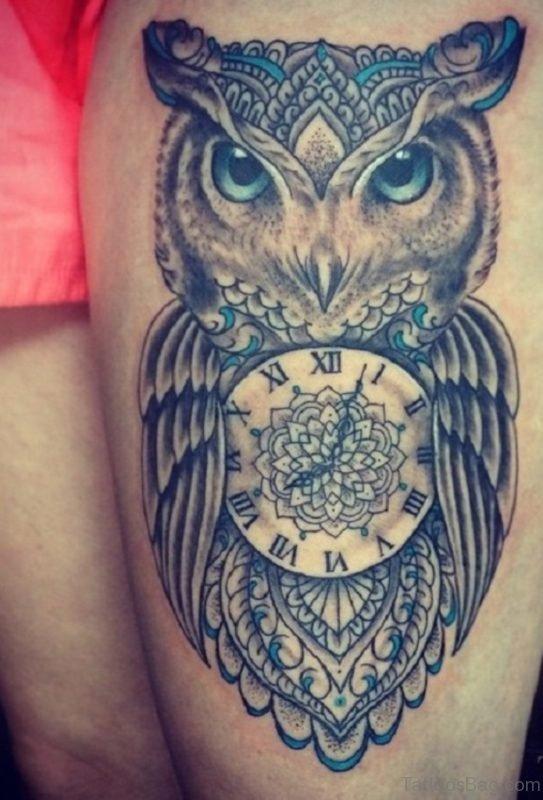 Clock And Owl Tattoo
