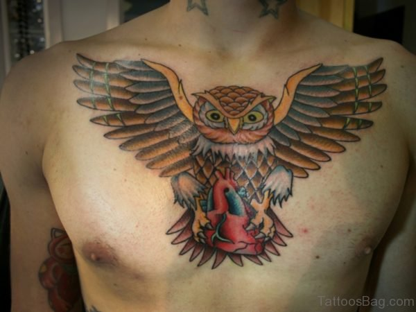 Clock And Owl Tattoo