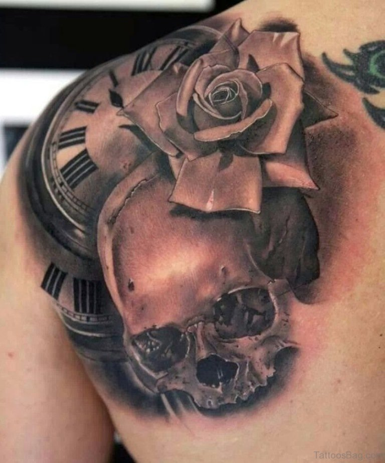 Clock And Roses Tattoo: 57 Pleasant Black Rose Tattoo Designs