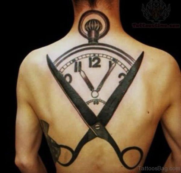 Clock Scissor Tattoo On Back