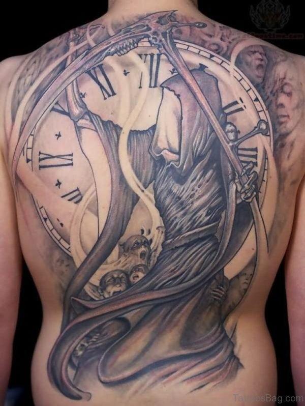 Clock Tattoo Design On Back