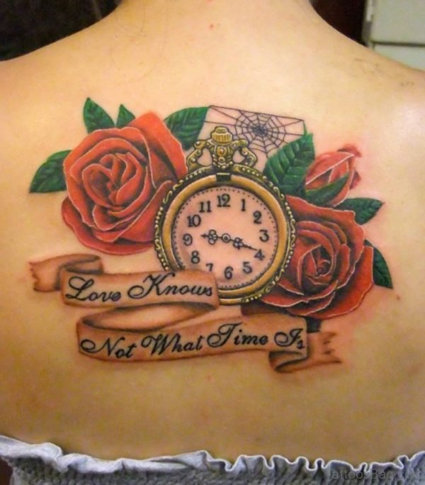 Clock Tattoo With Flowers Tattoo On Back