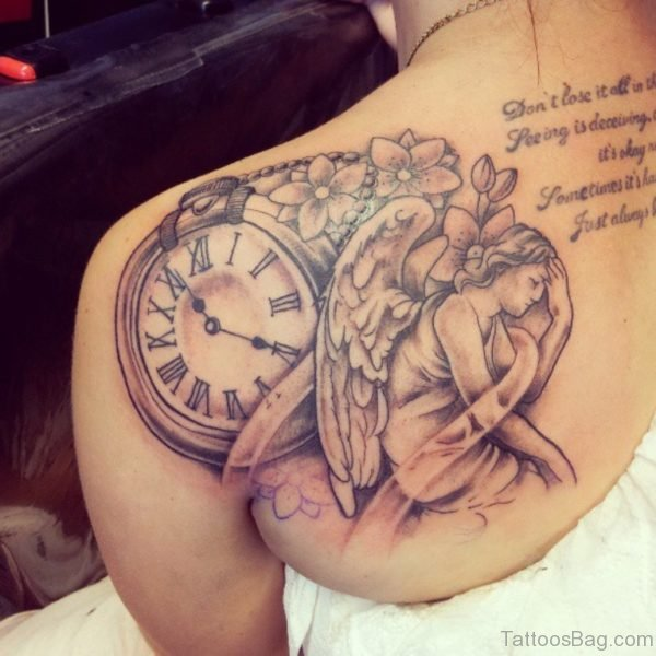 Clock With Rose Tattoo On Right Back