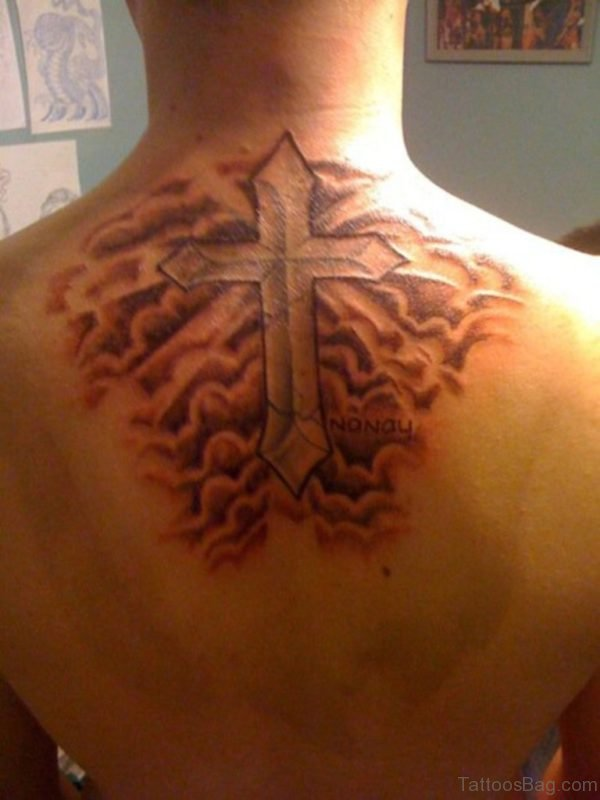 Cloud Tattoo Design with Cross