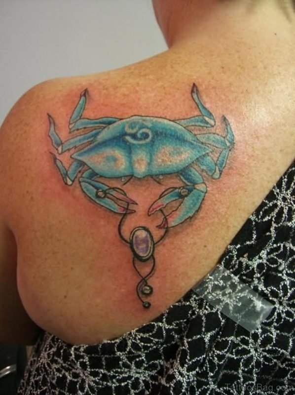 Color Crab Tattoo On Back