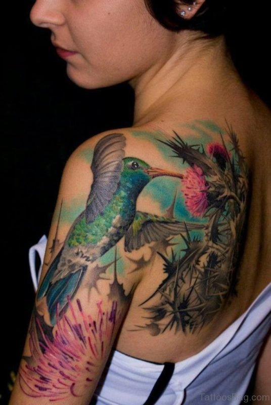 Color Hummingbird With Flower Tattoo On Back