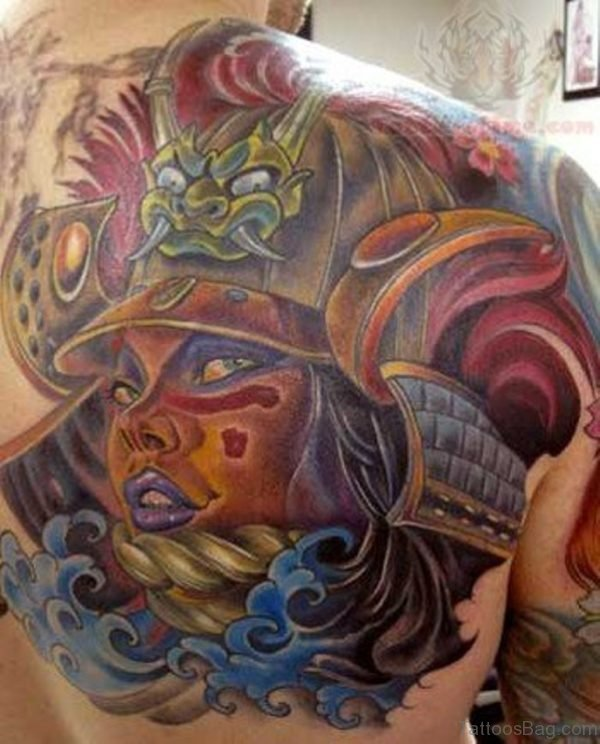 Color Ink Japanese Samurai Tattoo