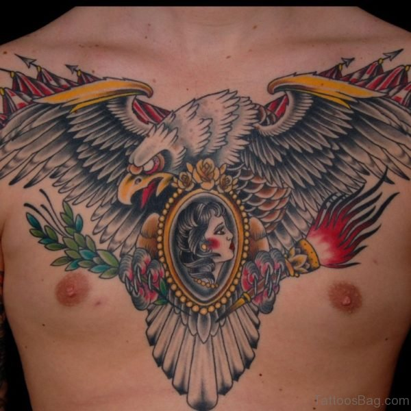 Color Ink Mexican Eagle Tattoo On Chest