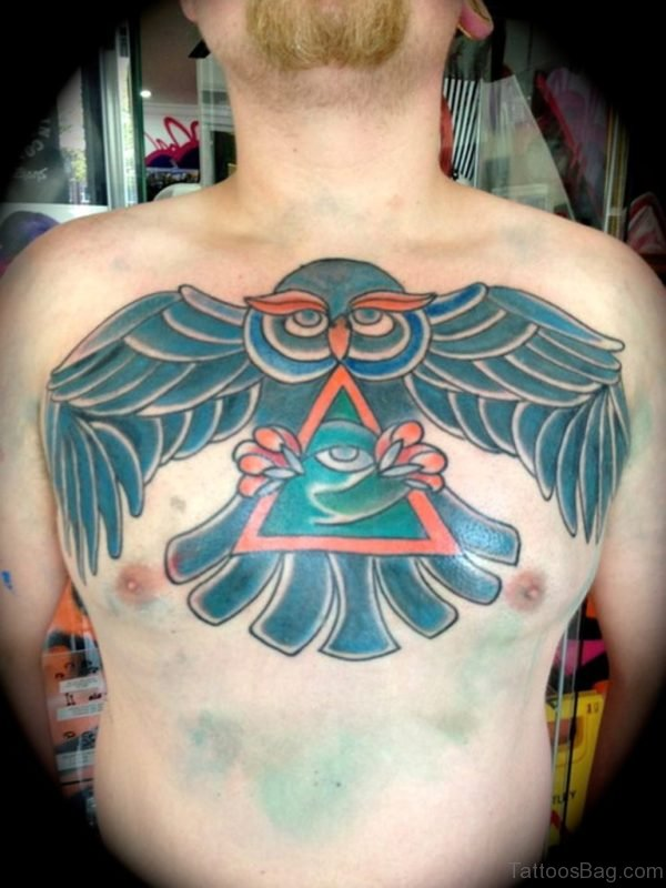 Color Ink Owl Tattoo On Man Chest
