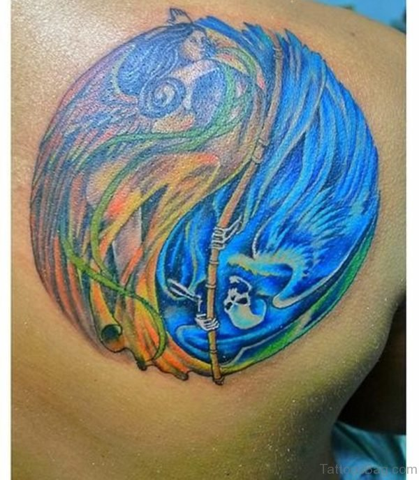 Colored Angel And Evil Tattoo