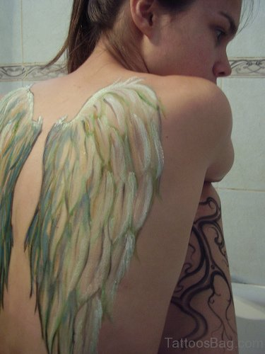 Colored Angel Wings Tattoo