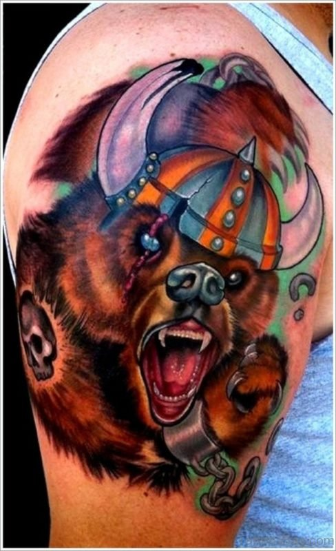 Colored Bear Viking Tattoo