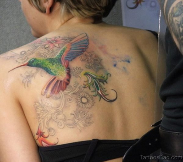 Colored Bird Tattoo On Back
