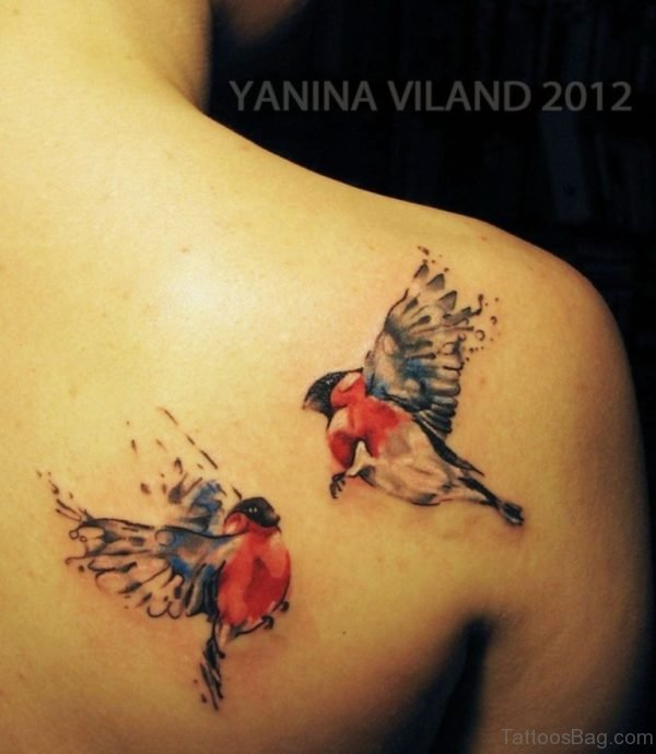 Colored Birds Tattoo On Back