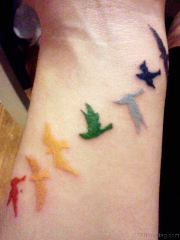 Colored Birds Tattoo