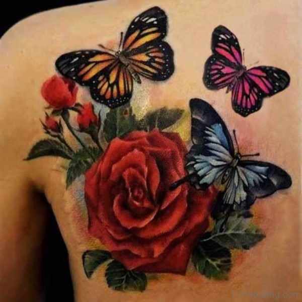 Colored Butterfly And Rose Tattoo